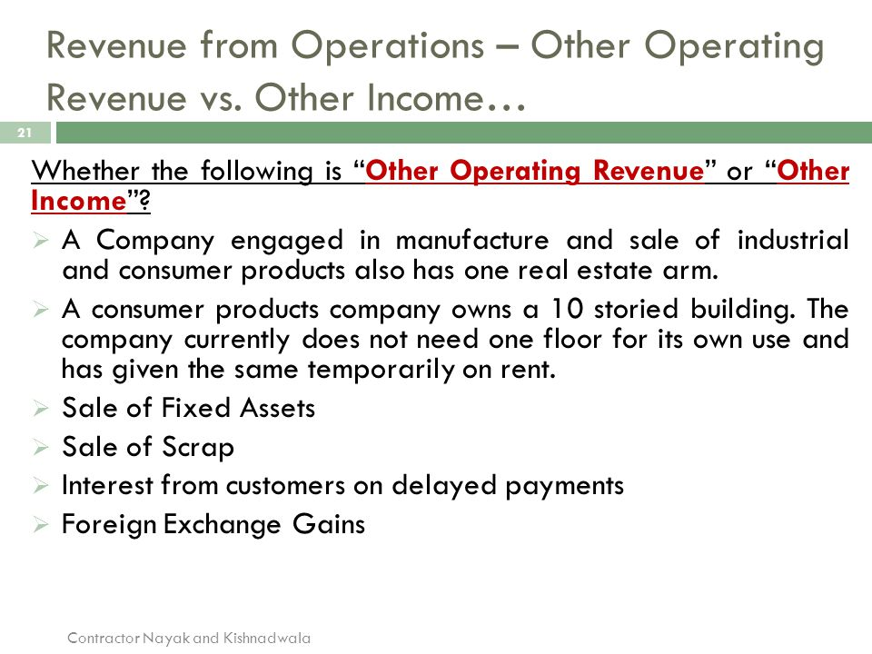Revenue from Operations – Other Operating Revenue vs. Other Income…