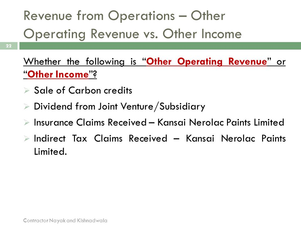 Revenue from Operations – Other Operating Revenue vs. Other Income