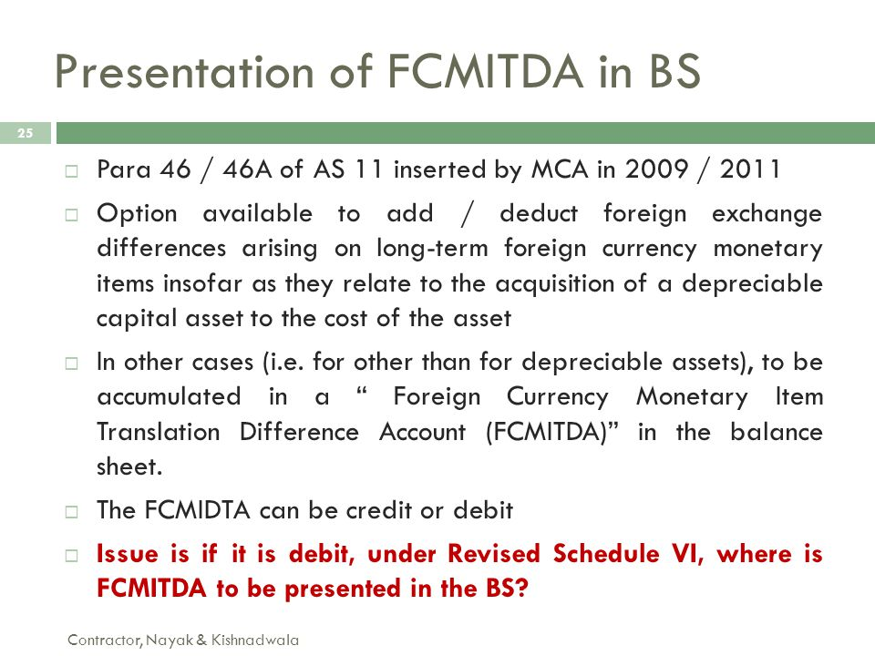 Presentation of FCMITDA in BS