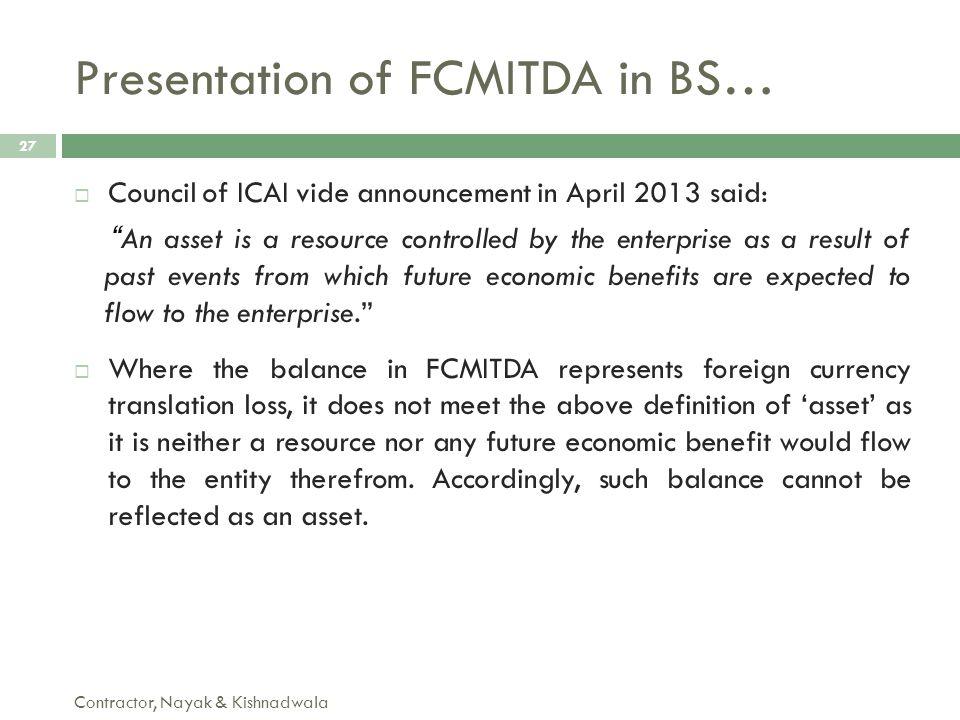 Presentation of FCMITDA in BS…