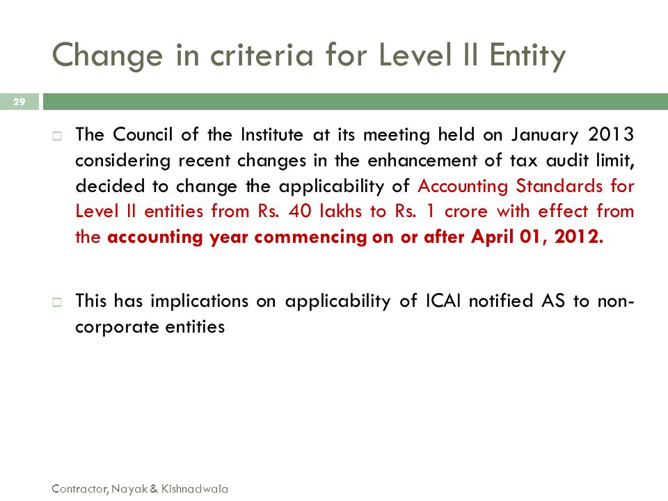 Change in criteria for Level II Entity