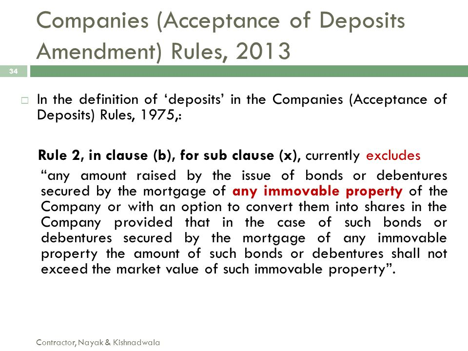 Companies (Acceptance of Deposits Amendment) Rules, 2013