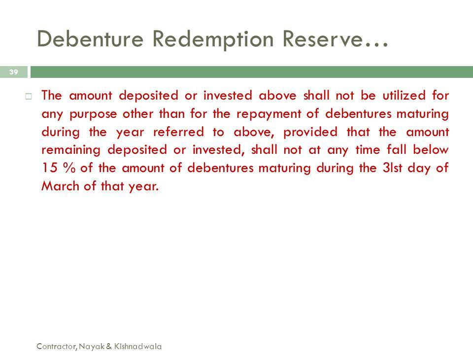 Debenture Redemption Reserve…