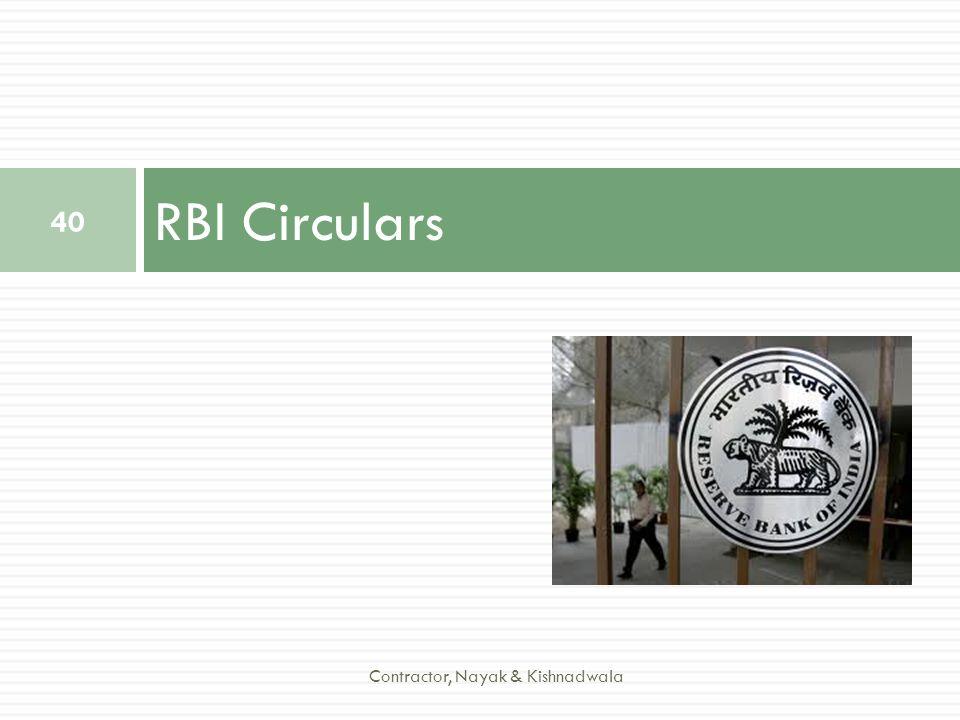 RBI Circulars Contractor, Nayak & Kishnadwala
