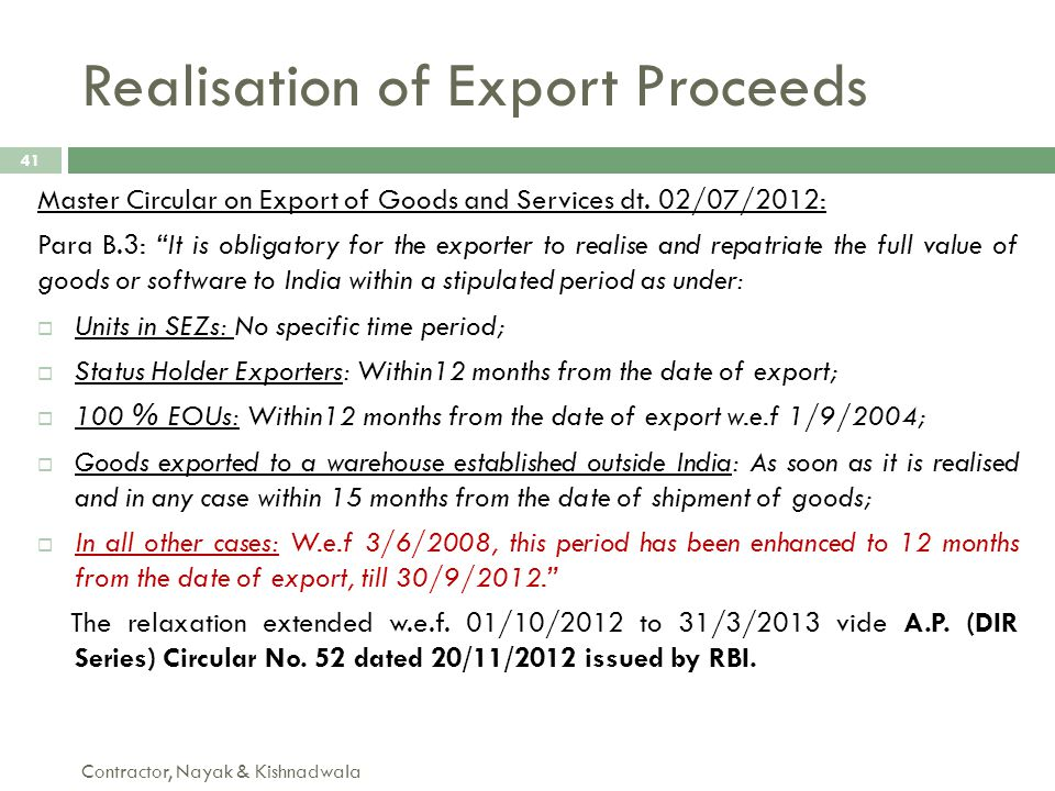 Realisation of Export Proceeds