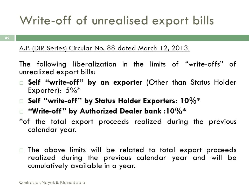 Write-off of unrealised export bills