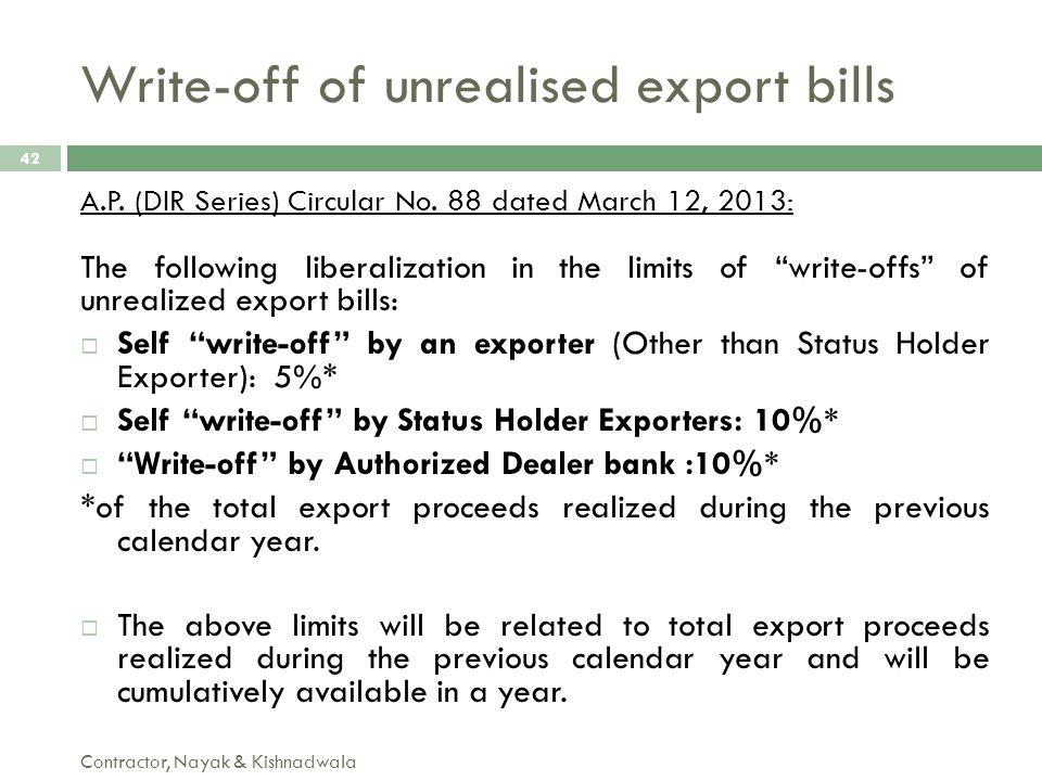 Write-off of unrealised export bills