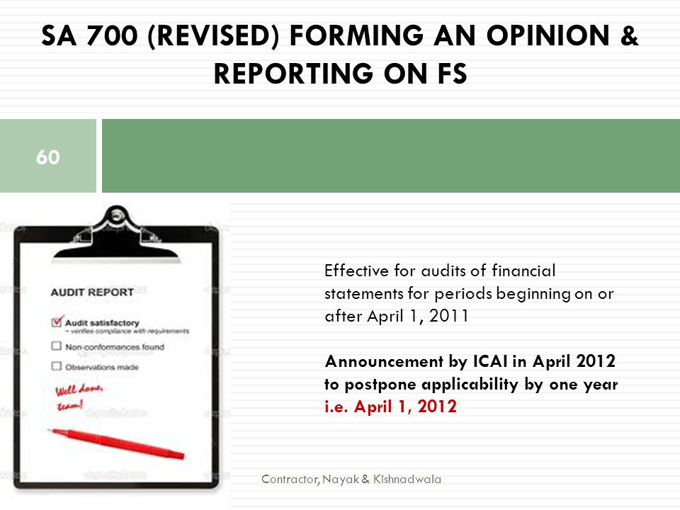 SA 700 (Revised) Forming an Opinion & Reporting on FS
