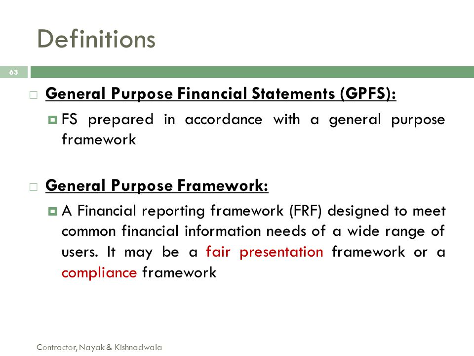 Definitions General Purpose Financial Statements (GPFS):