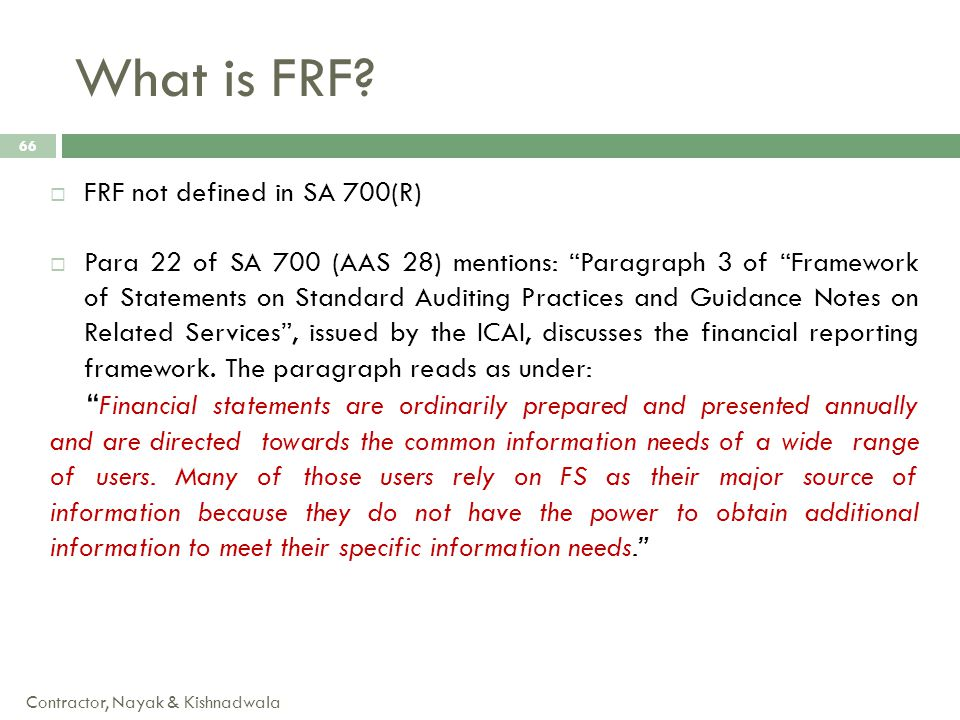 What is FRF FRF not defined in SA 700(R)