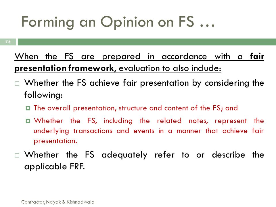 Forming an Opinion on FS …