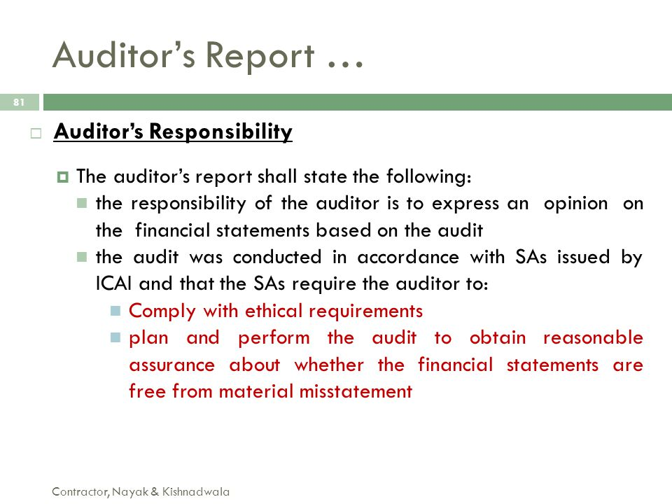 Auditor's Report … Auditor's Responsibility