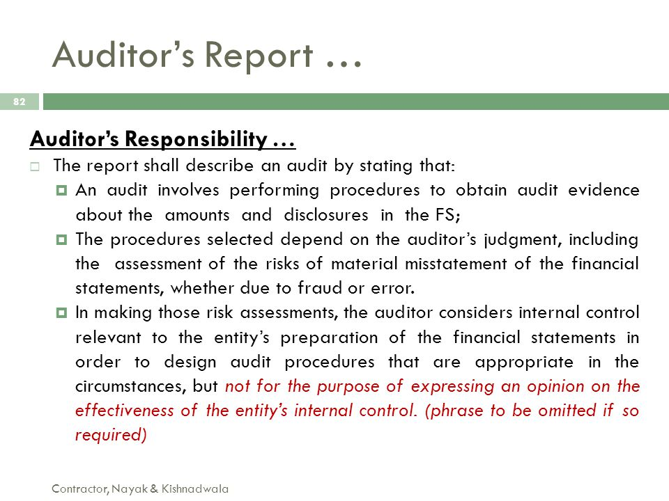 Auditor's Report … Auditor's Responsibility …