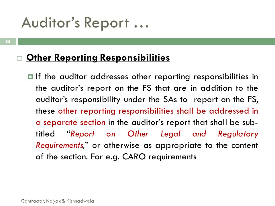 Auditor's Report … Other Reporting Responsibilities