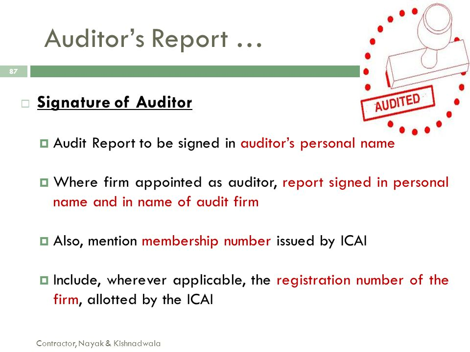 Auditor's Report … Signature of Auditor