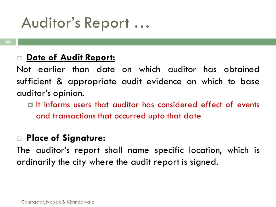 Auditor's Report … Date of Audit Report: