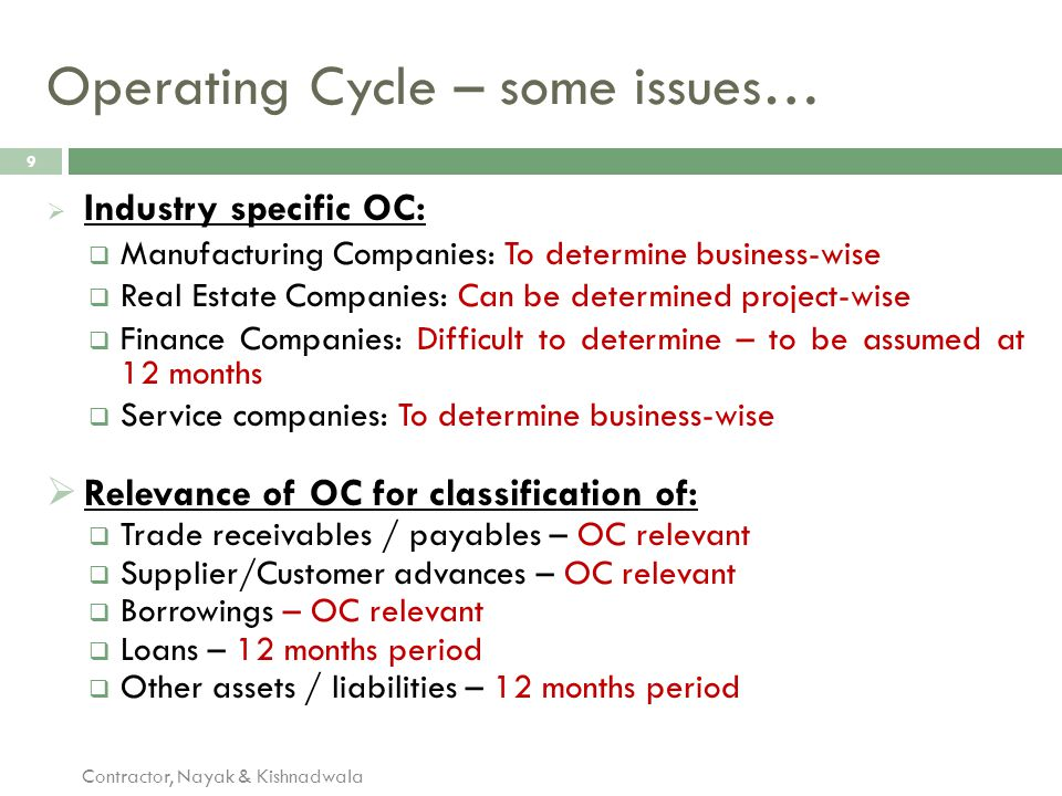Operating Cycle – some issues…