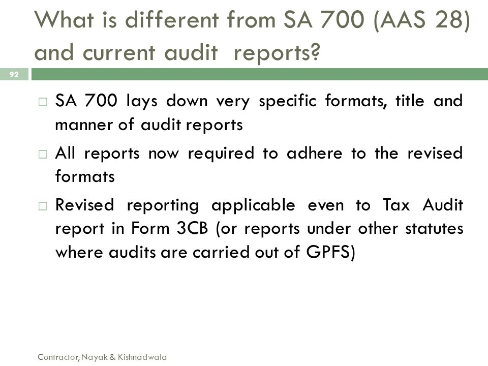 What is different from SA 700 (AAS 28) and current audit reports