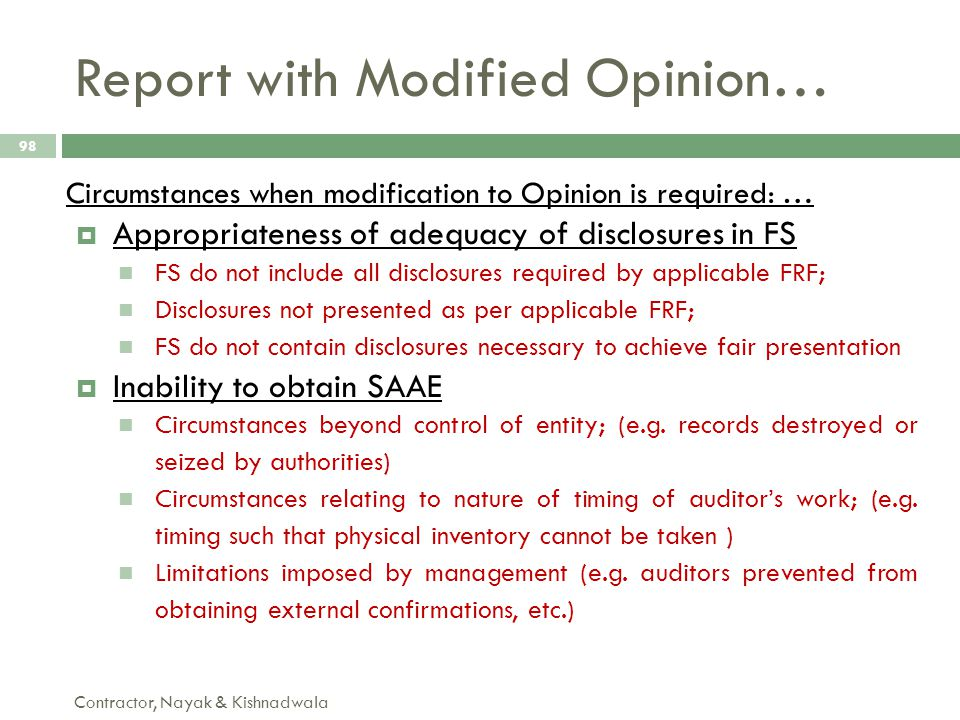 Report with Modified Opinion…