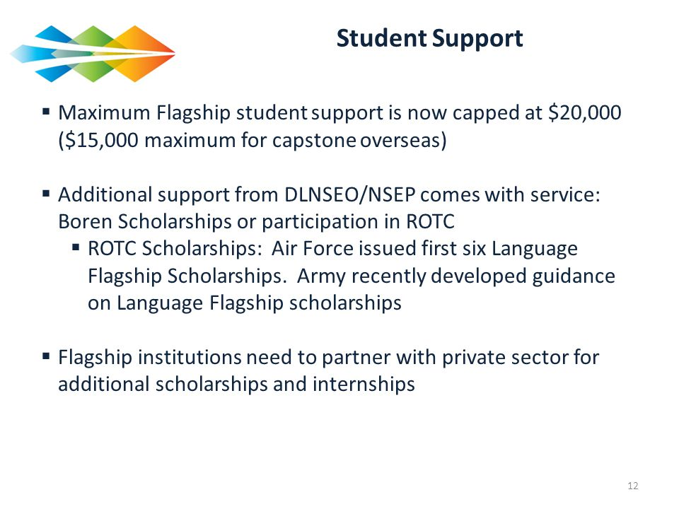 Student Support Maximum Flagship student support is now capped at $20,000 ($15,000 maximum for capstone overseas)