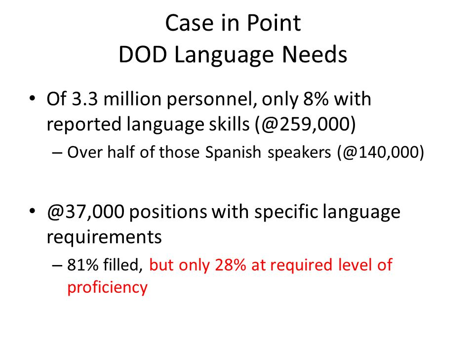 Case in Point DOD Language Needs
