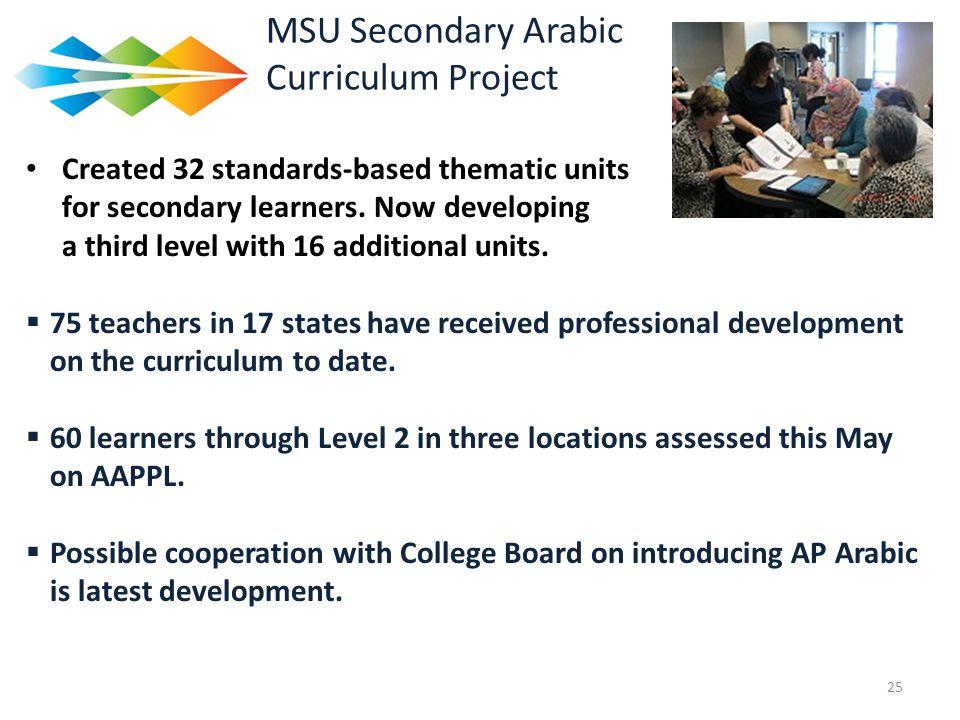 MSU Secondary Arabic Curriculum Project