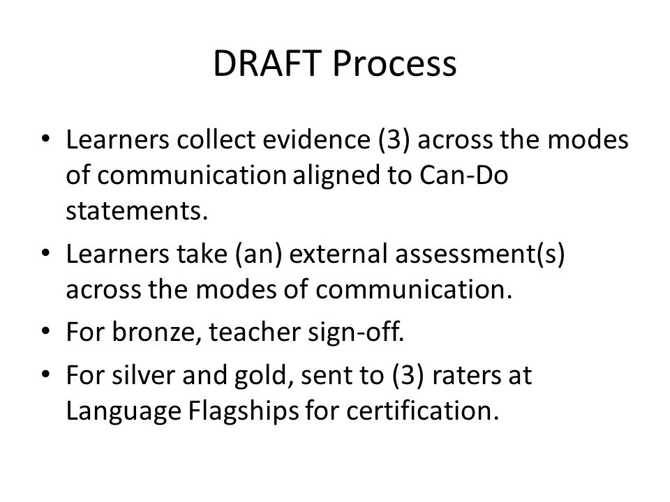 DRAFT Process Learners collect evidence (3) across the modes of communication aligned to Can-Do statements.