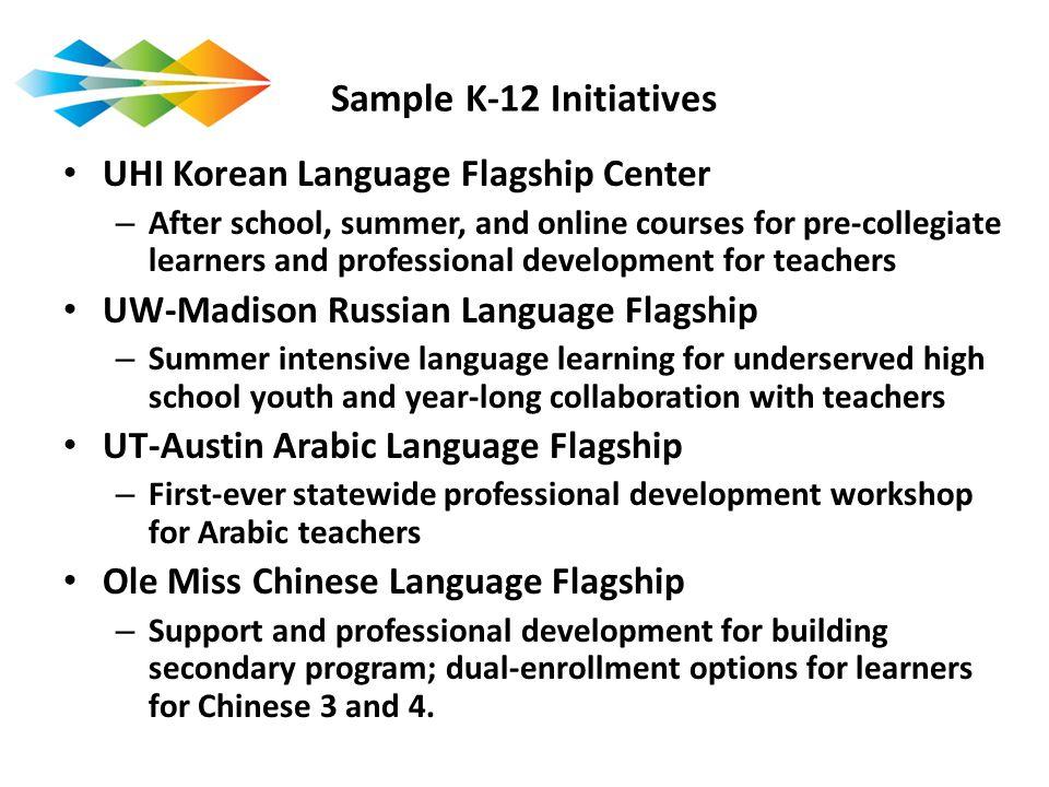 Sample K-12 Initiatives UHI Korean Language Flagship Center