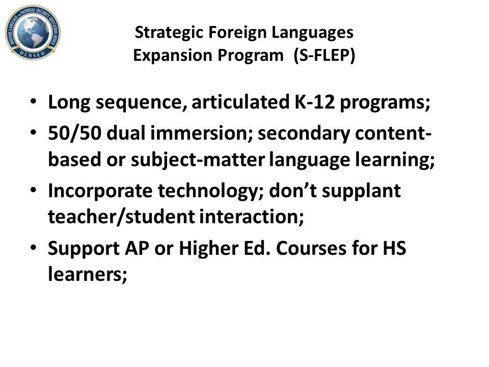 Strategic Foreign Languages Expansion Program (S-FLEP)