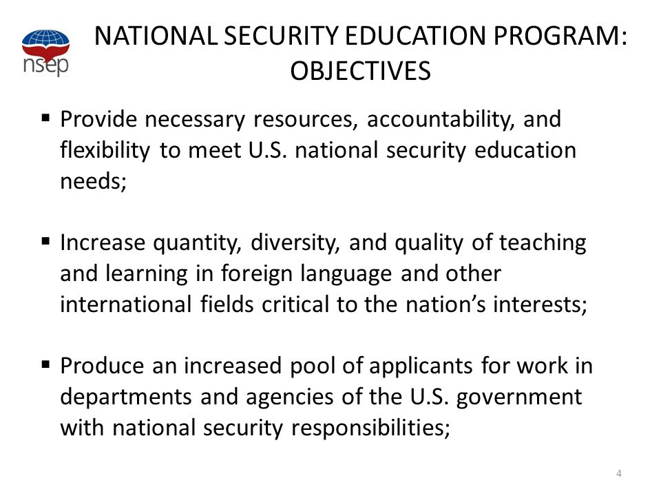 NATIONAL SECURITY EDUCATION PROGRAM: OBJECTIVES