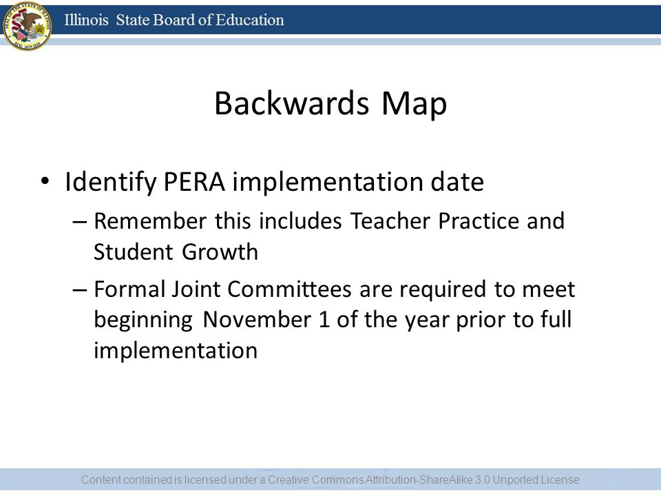 Backwards Map Identify PERA implementation date