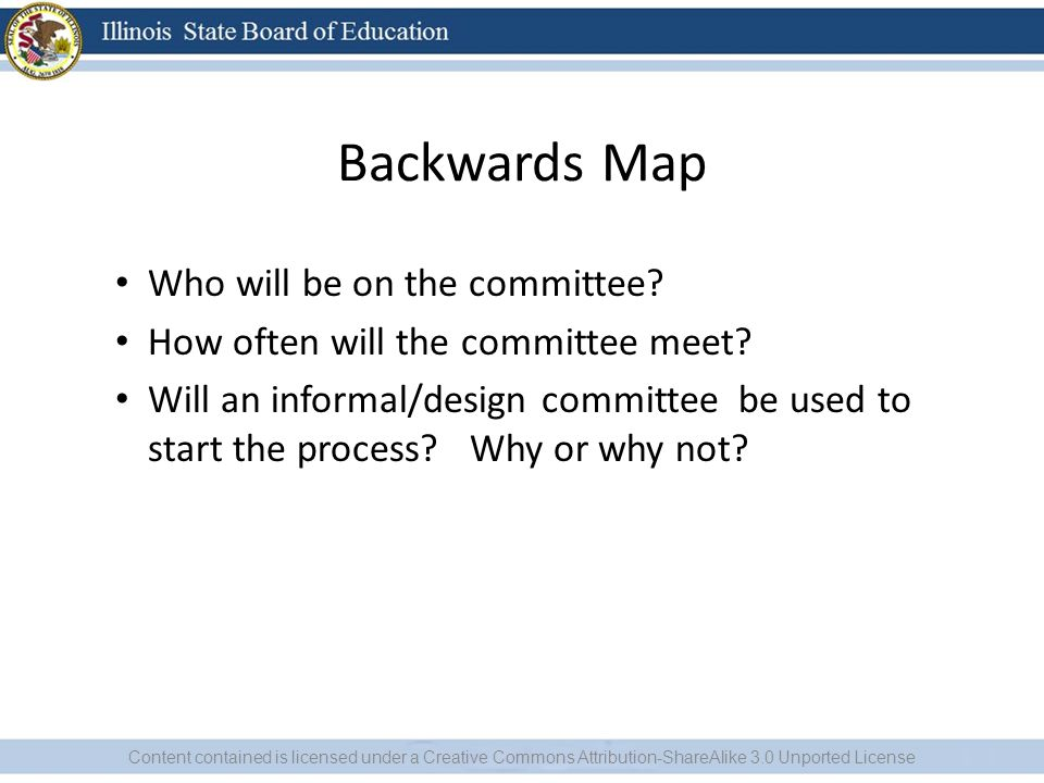 Backwards Map Who will be on the committee