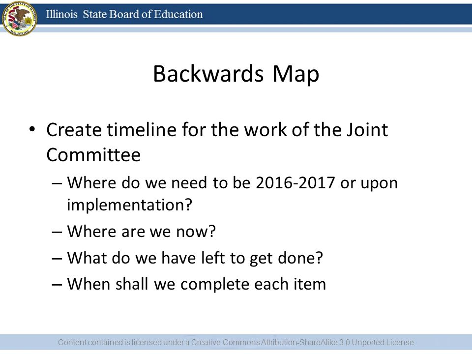 Backwards Map Create timeline for the work of the Joint Committee