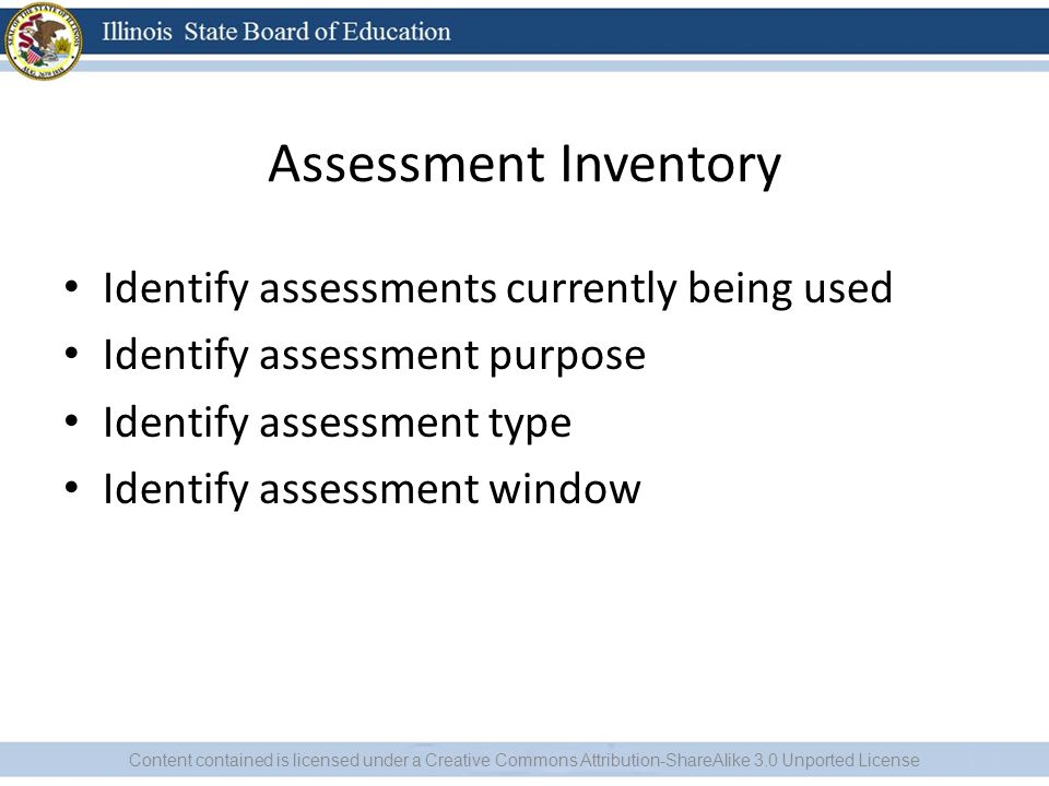 Assessment Inventory Identify assessments currently being used