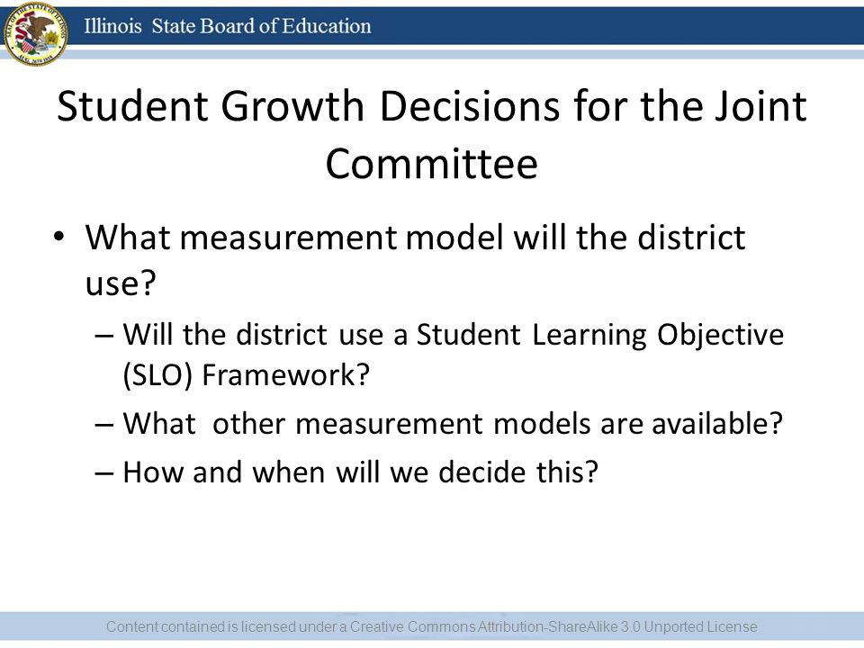 Student Growth Decisions for the Joint Committee