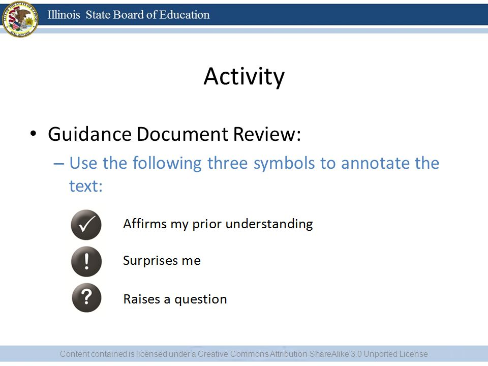 Activity Guidance Document Review: