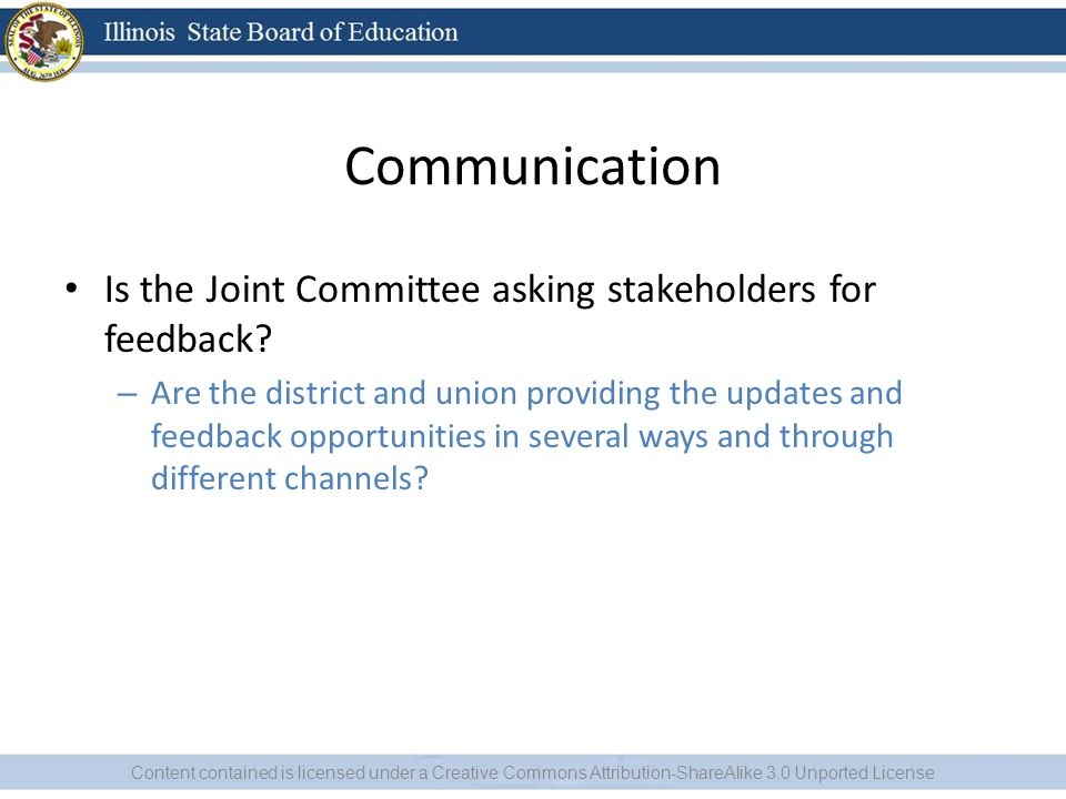 Communication Is the Joint Committee asking stakeholders for feedback