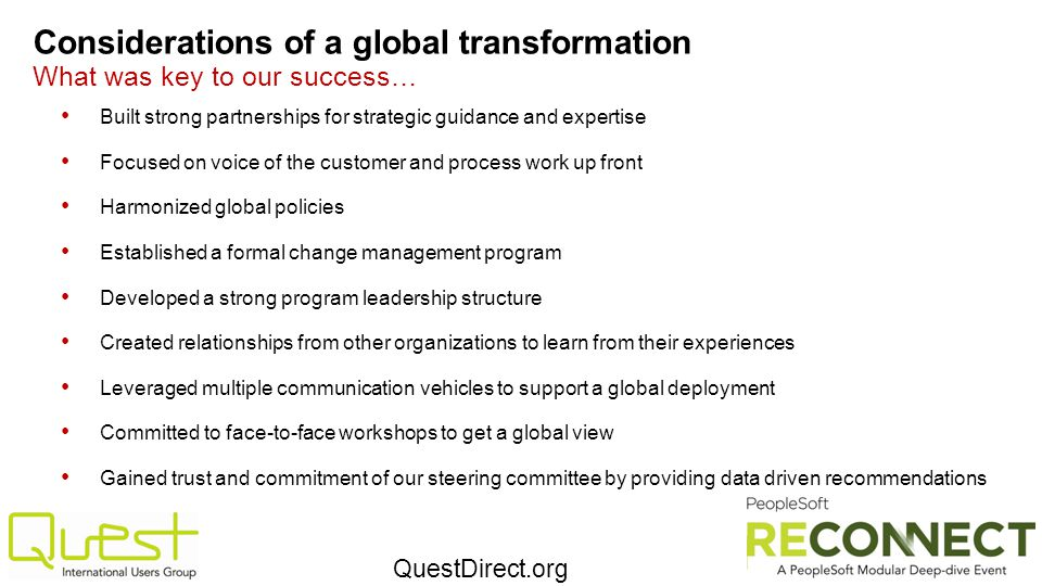 Considerations of a global transformation