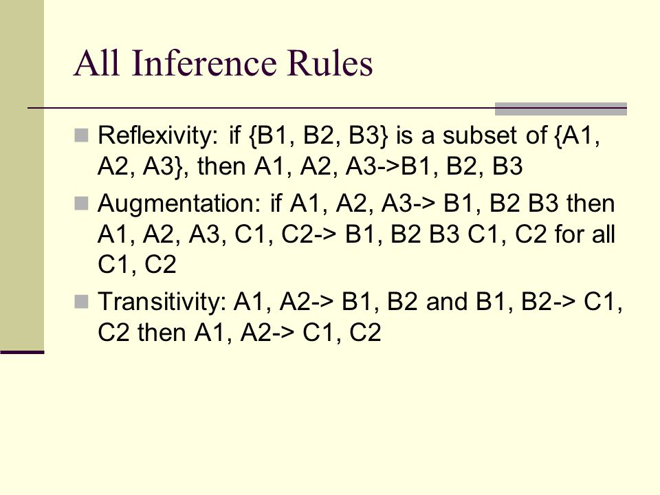 All Inference Rules Reflexivity: if {B1, B2, B3} is a subset of {A1, A2, A3}, then A1, A2, A3->B1, B2, B3.