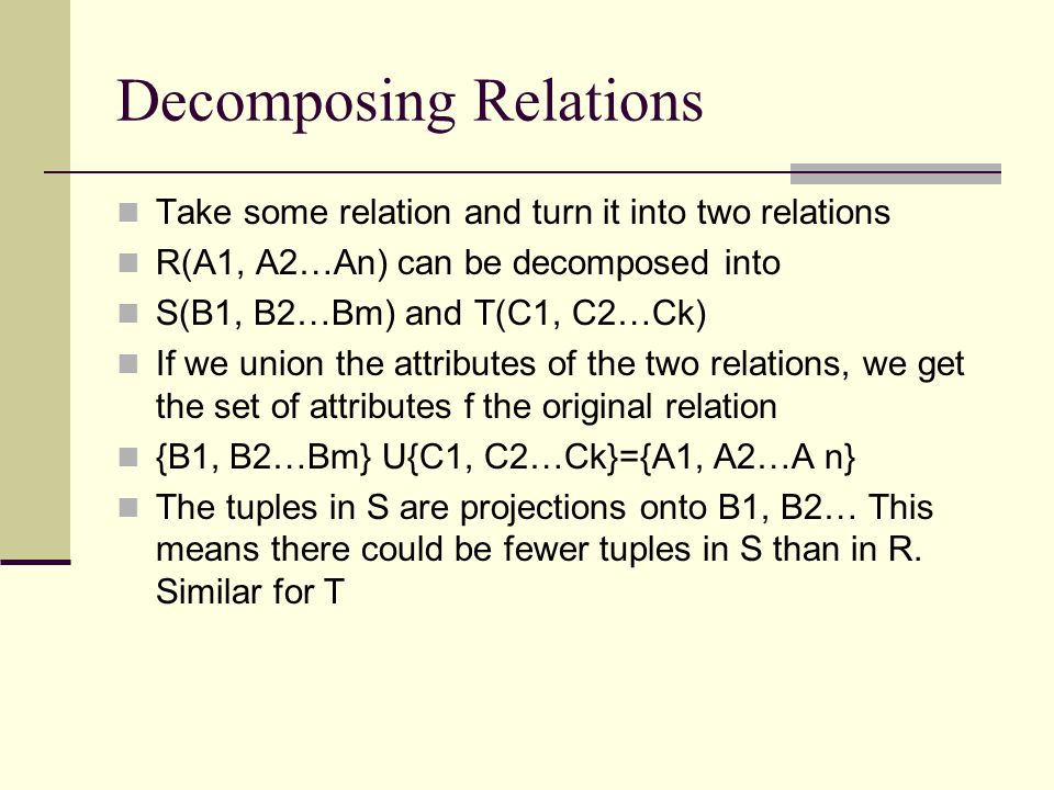 Decomposing Relations