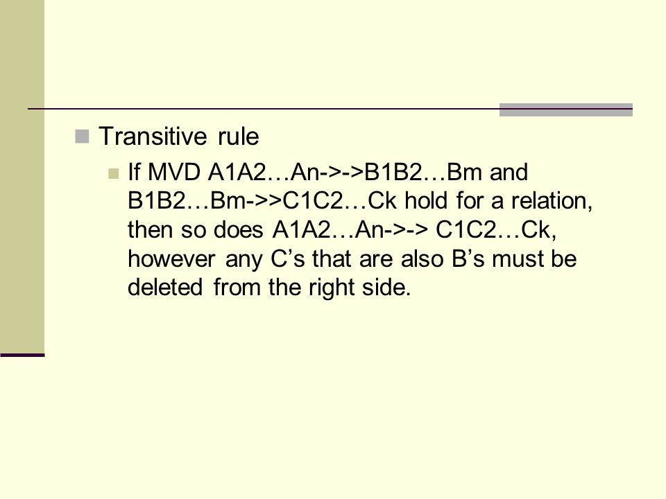 Transitive rule
