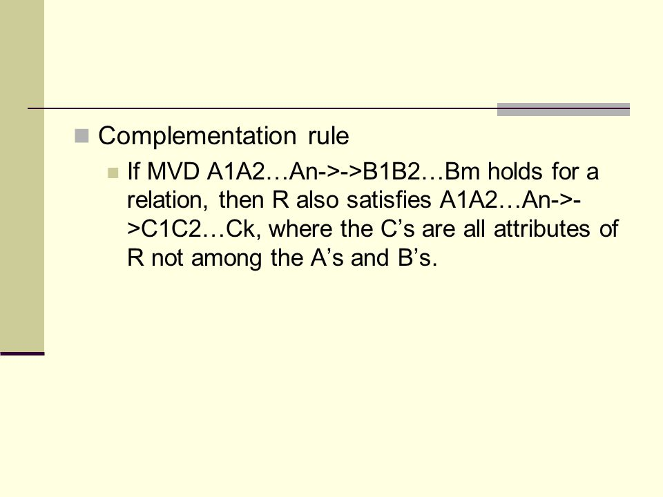 Complementation rule