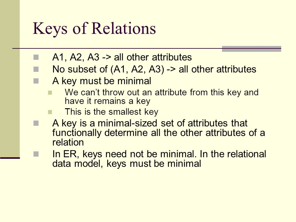 Keys of Relations A1, A2, A3 -> all other attributes
