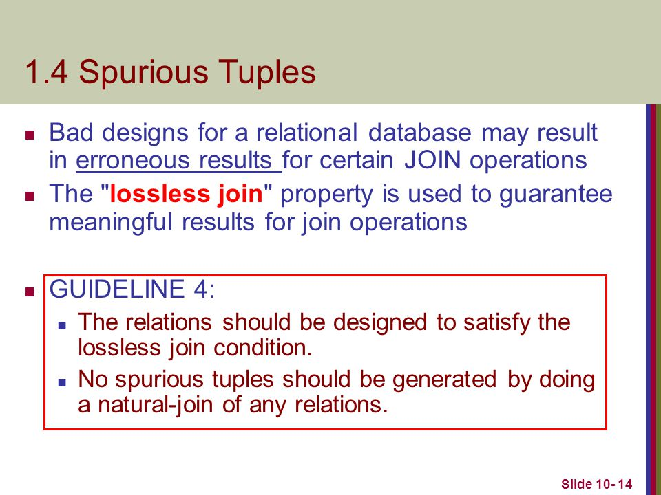 1.4 Spurious Tuples Bad designs for a relational database may result in erroneous results for certain JOIN operations.