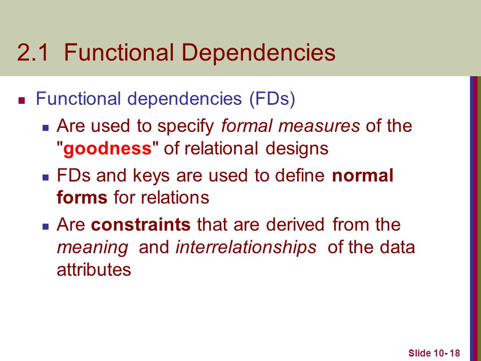 2.1 Functional Dependencies