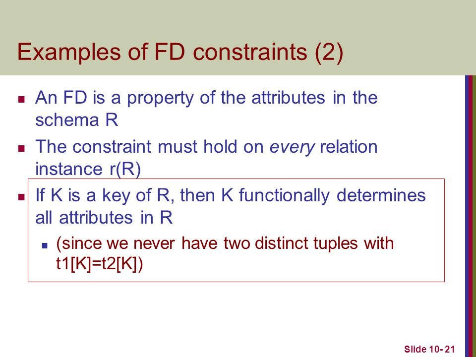 Examples of FD constraints (2)