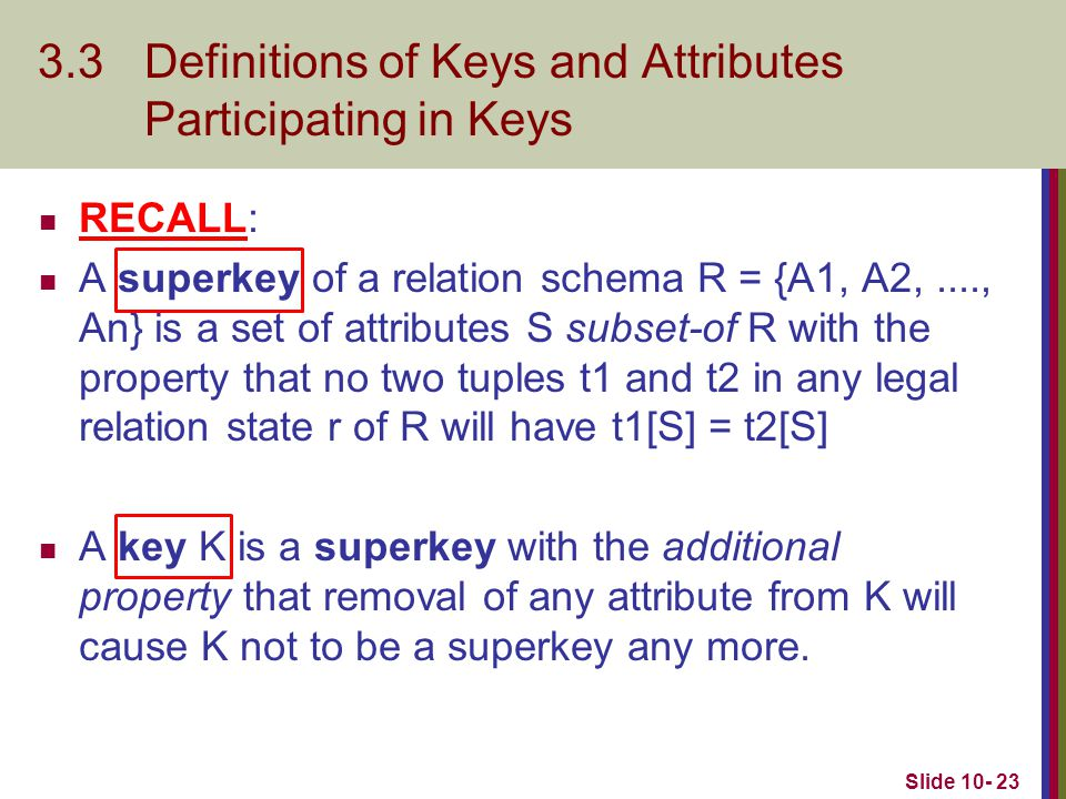 3.3 Definitions of Keys and Attributes Participating in Keys