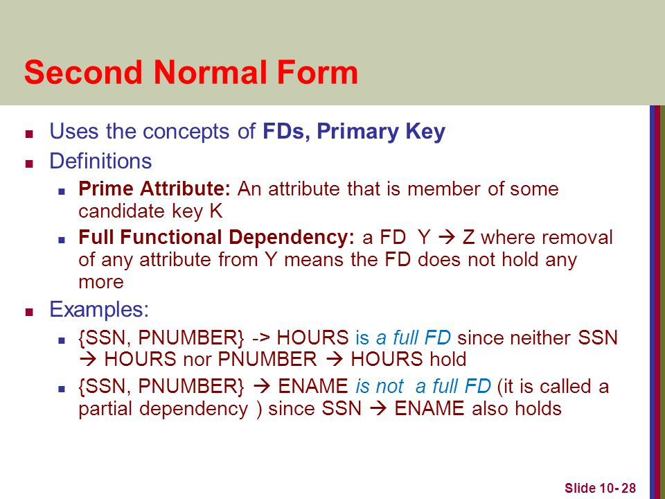 Second Normal Form Uses the concepts of FDs, Primary Key Definitions