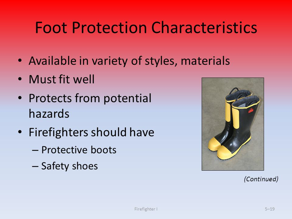Foot Protection Characteristics