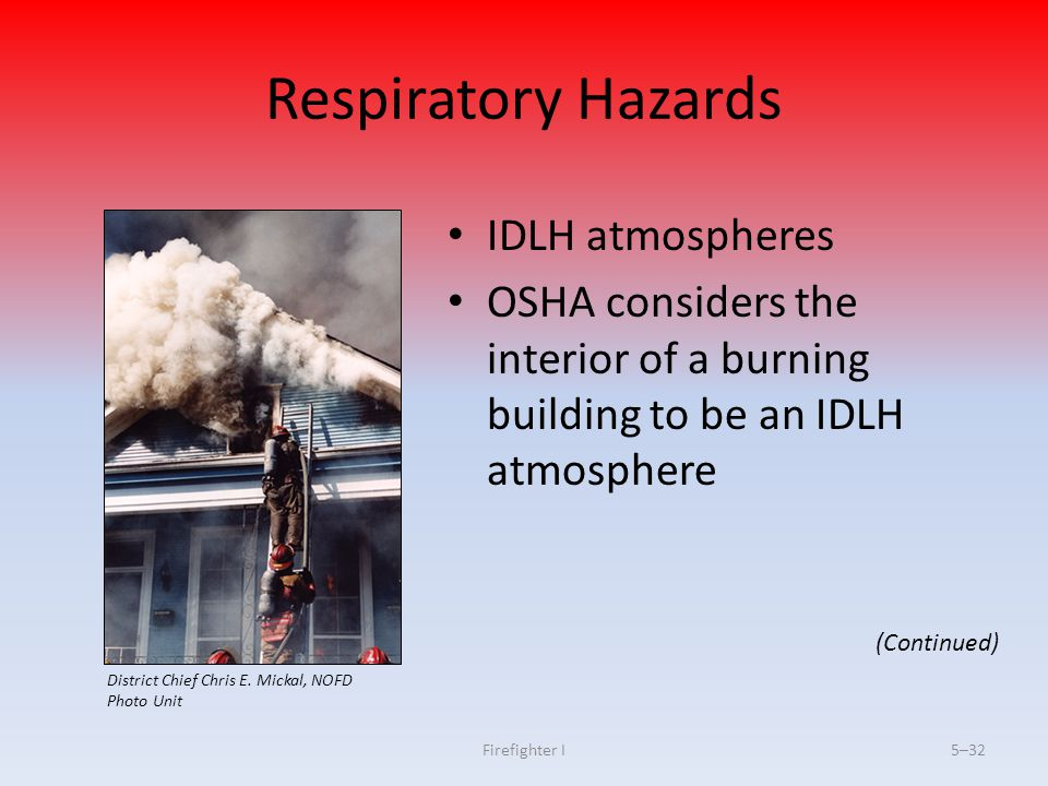 Respiratory Hazards IDLH atmospheres
